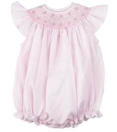 6920151764 Feltman Brothers baby girl pink smocked creeper with floral hand embroidery  and ruffle sleeves. Makes