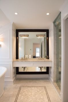 Bathrooms Black White Gray Cream Mosaic Inlay Floor Carrara Floating Console Drawers Traditional Vanity Mirror Christmas Pinterest Bathroom Black