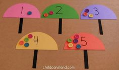 Umbrella Button Counting - Pinned by – Please Visit for all our pediatric therapy pins Counting Activities, Spring Activities, Preschool Activities, Play Based Learning, Early Learning, Kids Learning, Preschool Letters, Preschool Kindergarten, Early Math