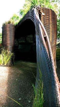 Woven rebar shed built by Water Gems