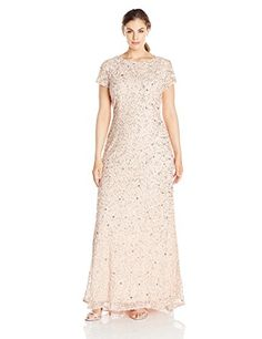 online shopping for Adrianna Papell Adrianna Papell Women's Plus-Size Scoop-Back Long Beaded Gown from top store. See new offer for Adrianna Papell Adrianna Papell Women's Plus-Size Scoop-Back Long Beaded Gown Party Wear Dresses, Homecoming Dresses, Bride Dresses, Plus Size Gowns, Evening Party Gowns, Beaded Gown, Gowns With Sleeves, Formal Dresses For Women, Junior Dresses