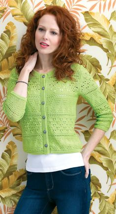 FREE PATTERN: Lime Rickey Cardi  by Mary Anne Oger #knit #knitting