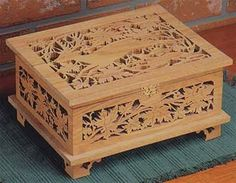 Boxes are fun to make and scroll saw boxes are even better. Our full size scroll saw box patterns will have you finishing a scroll saw box in no time. Woodworking Workshop Plans, Woodworking Apron, Youtube Woodworking, Woodworking Supplies, Woodworking Crafts, Woodworking Classes, Workbench Plans, Woodworking Videos, Woodworking Equipment