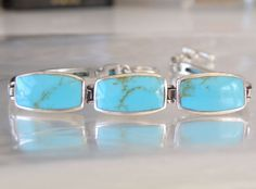 Sterling Silver 925 Arizona Turquoise Segment Station Link Toggle Bracelet #CFJ #Chain