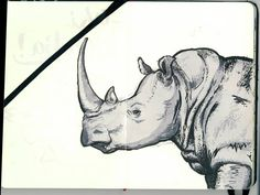 Moleskine page - Unfinished rhino study from photo reference (Uni-ball Signo gel pen, Letraset ProMarker greys, 150 mm x 100 mm) https://www.facebook.com/hiresletters/