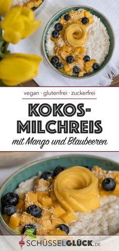 Veganer Kokosmilchreis mit Mango und Blaubeeren (ohne Zucker) // Rezept Avocado Rose? #SoYesterday! Verwandelt doch eine Mango und hübscht damit euren herrlich cremigen Kokosmilchreis auf :) Sommergefühle zum löffeln...