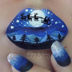Show all the Christmas Makeup Ideas and Designs - ShowmyBeauty Lipstick Art, Lipstick Colors, Lip Colors, Lipsticks, Crazy Lipstick, Christmas Makeup Look, Holiday Makeup, Lip Designs, Makeup Designs