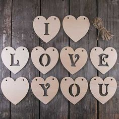 6mm Plywood I LOVE YOU Victoria Stencil Heart Set by UKInfinite