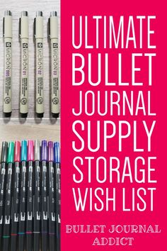 Getting organized with your bullet journal supplies is easier than ever. In this post I detail the best bullet journal supply storage options. Bullet Journal Font, Journal Fonts, Bullet Journal Themes, Bullet Journal Inspiration, Journal Ideas, Journal Organization, Craft Organization, Notebook Ideas, Journal Notebook