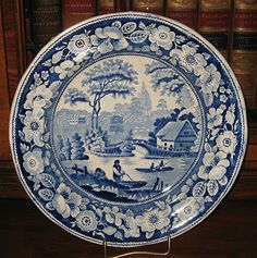 Mid 19th Century Blue & White Transfer Ware Printed Wild Rose Plate