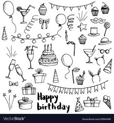 Find birthday party doodle set, vector isolated hand drawn elements stock vectors and royalty free photos in HD. Explore millions of stock photos, images, illustrations, and vectors in the Shutterstock creative collection. Happy Birthday Doodles, Happy Birthday Drawings, Birthday Card Drawing, Happy Birthday Signs, Birthday Cards, Happy Doodles, Bullet Journal Mood, Bullet Journal Inspiration, Party Doodle