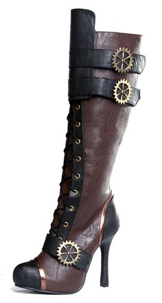144040cb68c Ellie Shoes Womens 420 Quinley 4 Knee High Steampunk Boot With Laces Brown  10 M US   Check out the image by visiting the link.