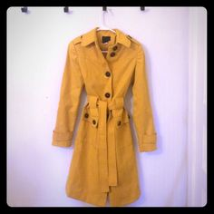 Trench coat with waist tie Via trench coat with buttons down back. Mustard yellow•excellent conditions•size 2 Jackets & Coats Trench Coats