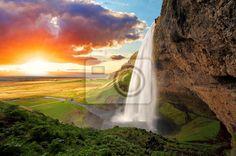 Waterfall, Iceland Seljalandsfoss Wall Mural | Waterfall Wallpaper ...