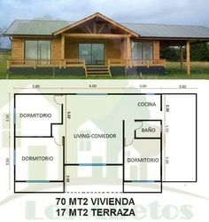 Casa plano Little House Plans, Three Bedroom House Plan, Building A Cabin, Small Floor Plans, Rustic Bathroom Designs, Mountain House Plans, Apartment Plans, Modern House Plans, Cabin Homes