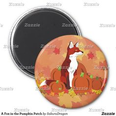 A Fox in the Pumpkin Patch 2 Inch Round Magnet #fox #animals #autumn #fall #pumpkins