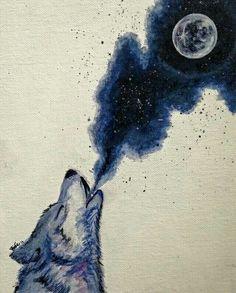Wolf Spirit Animal Howling at Full Moon   Totem   Totemic Native American Art   Night   Cosmic