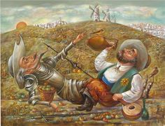 DON QUICHOTTE AND SANCHO PANZA......PARTAGE OF GOLD ART......ON FACEBOOK.......