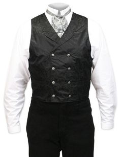 A fine double breasted vest. The cut is conservative, but the fabric is full of style. Notched collar, 2 front pockets, adjustable back and fancy metal buttons.
