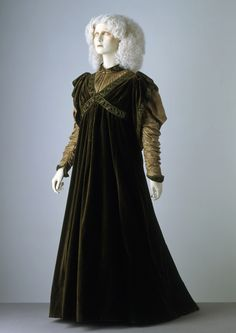 Dress by Liberty & Co., England. c. 1894. Velvet, satin-stitch embroidery, iridescent beads. T.17-1985. Copyright Victoria & Albert Museum.