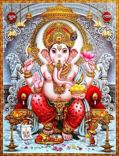 "hinducosmos: "" Lord Ganesha Artist: Yogendra Rastogi (via ebay: Indian_ash) """