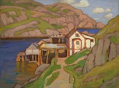 Lawren Harris - Fish Stage, Quidi Vidi, New Foundland - 1921 Contemporary Landscape, Landscape Art, Landscape Paintings, Landscapes, Emily Carr, Canadian Painters, Canadian Artists, Group Of Seven Artists, Tom Thomson Paintings