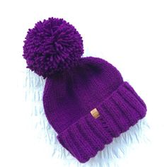 Handknit magenta UNISEX bobble hat winter hat by JunkboxCouture