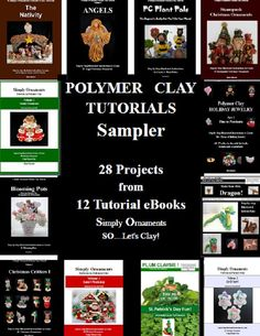 Polymer Clay Tutorials Sampler is a pdf ebook which contains 28 projects from 12 of the ebooks that I have on Etsy. I thought it would be fun to