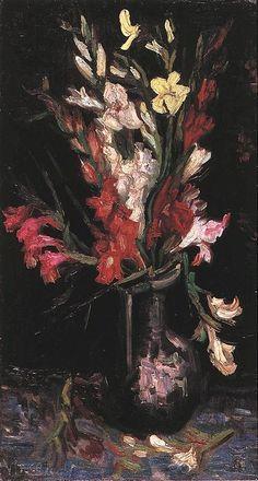 Vase with Red Gladioli  Oil on canvas  65.0 x 35.0 cm.  Paris: Summer, 1886