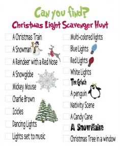 Christmas Scavenger Hunt-when take kids out looking at Christmas lights!