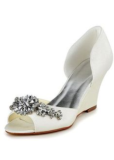 Chic Satin Upper Peep Toe Wedge Heel Bridal Shoes With Rhinestones