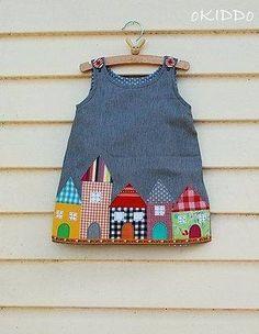 Um vestidinho simples que pode ser feito com abotoamento nas costas ou nos ombros. Bem prático e econômico, pois gasta pouco tecido. Segue Esquema de modelagem do 1 ao 14.