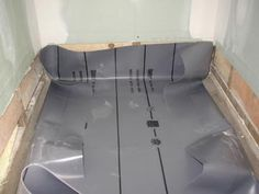 Awesome Shower Pan Liner Is Shown In Various Stages Of Installation. How To Shower  Floor Pics