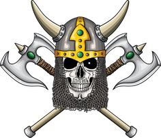 Illustration of warrior undead skull  with fantastic medieval helmet and two axes.