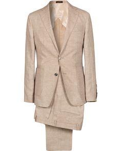 Oscar Jacobson Einar Linen Patch Pocket Suit Khaki i gruppen Kostymer hos Care of Carl (SA000180)