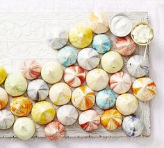 Serve these multi-coloured meringues with flavoured creams for a stunning dessert. Flavours include lavender, pistachio and blueberry http://www.bbcgoodfood.com/recipes/rainbow-rippled-meringues