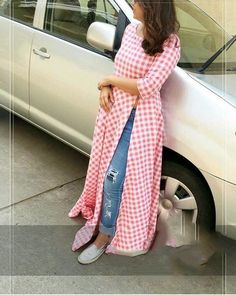 for this Tailer fit designer wear Stylish red and white color check printed rayon kurti. Look Fashion, Hijab Fashion, Indian Fashion, Fashion Dresses, Kurta Designs, Blouse Designs, Indian Dresses, Indian Outfits, Kurti With Jeans