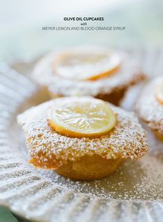 Olive oil cupcakes with Meyer lemon & blood orange syrup #recipe