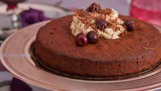 Flourless Chocolate Cake with Black Cherries and Mascarpone Springform Cake Tin, Flourless Chocolate Cakes, Ground Almonds, Cake Tins, Christmas Desserts, Real Food Recipes, Cocoa, Icing, Cherry