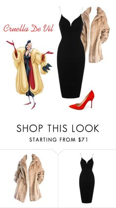 """Cruella De Vil inspired outfit"" by alidatenic ❤ liked on Polyvore featuring Lilli Ann, Rare London and Manolo Blahnik"