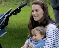 The Duchess of Cambridge and Princess Charlotte  at Houghton Hall Horse Trials.