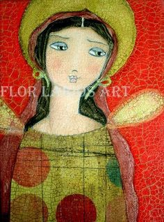 Angel Girl - Folk Art Primitive Painting (5 x 7.25 inches PRINT) by FLOR LARIOS. $15.00, via Etsy.