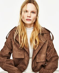 Trending now at Zara, Whitefriars, Canterbury. Womens clothes Spring/Summer 2017, SS17.    SUEDE-EFFECT JACKET