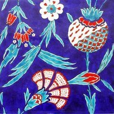 Iznik naturalist tile, tulips, flowers, and pomegranite Turkish Tiles, Turkish Art, Tulip Tattoo, Style Tile, Ceramic Painting, Tile Art, Antique Art, Islamic Art, Ceramic Pottery