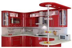 Love this red kitchen. Kitchen Cupboard Designs, Kitchen Room Design, Modern Kitchen Design, Home Decor Kitchen, Interior Design Kitchen, Red Kitchen, Purple Kitchen, Custom Kitchens, Home Kitchens