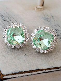 Mint crystal studs Clear mint Swarovski stud by EldorTinaJewelry