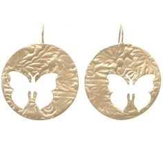 Butterfly Earrings, 10KT Gold on a Gold hook. Disc is 1.65