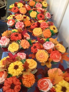 - Cupcake flower bouquets for a fall wedding