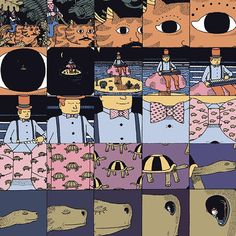 You should know before you start reading that we really love Jim Stoten, he's one of our favourite illustrators. So now you won't be surprised when we start to gush about his latest project for _Nobrow 9_ which sees him tackling a comic based on scale and proportion that zooms in, step-by-step, from one panel to the next, allowing you to travel at speed through time and space. Jim takes you into the eye of a cat where a man plays piano on a toadstool, across a desert on a sunbather...