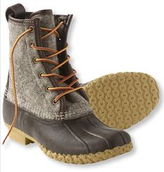 Women's Felt LL Bean Boot in Taupe/Brown $125 sz9